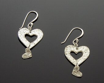 Handmade Fine Silver Textured Heart Earrings