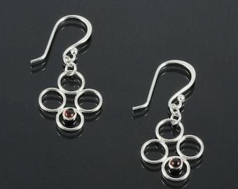 Handmade Sterling Silver Spring Awakening Earrings with Garnet