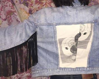 Fringe Jacket Vintage Denim Jacket with Fringe Leather Fringe Jacket Jean Jacket