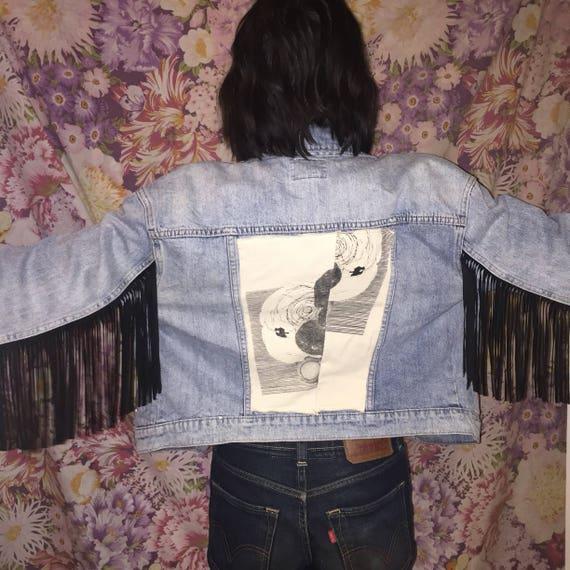 Fringe Jacket Vintage Denim Jacket with Fringe Lea