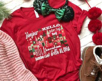 Small World Holiday T-Shirt Disney Small World Many Languages Christmas T-Shirt