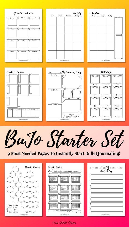 Bullet Journal Starter Set  bullet journal pages  printable image 0