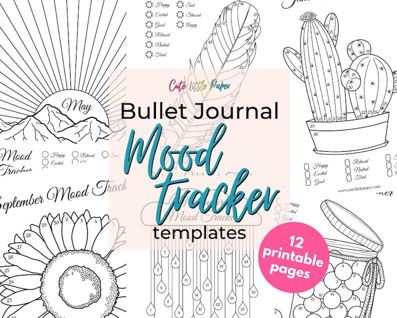 Mood Tracker Bullet Journal Inserts Bundle image 1