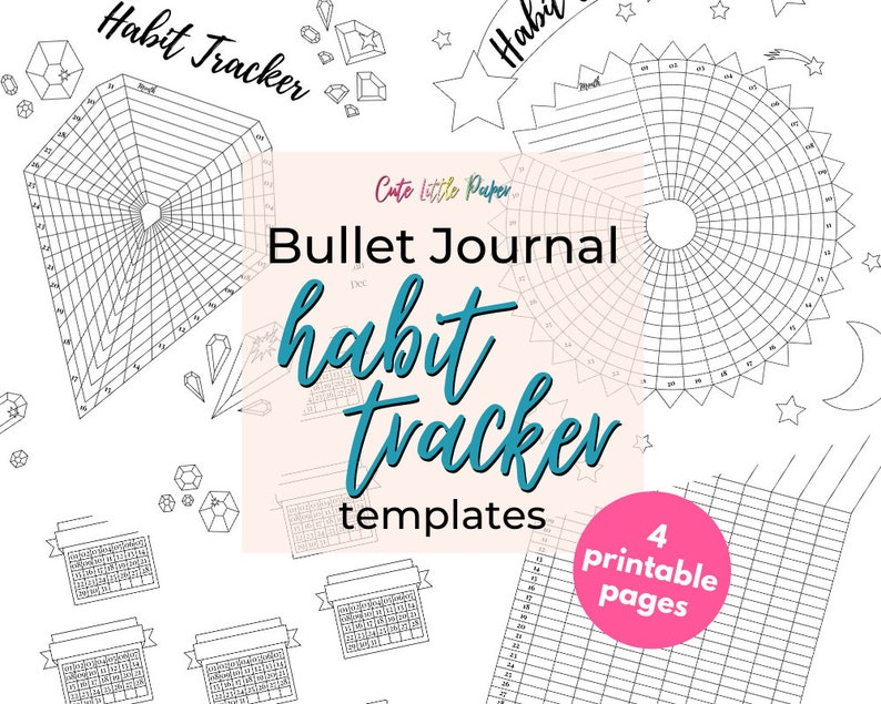 Habit Tracker Template Set  monthly 31 day routine log  image 0