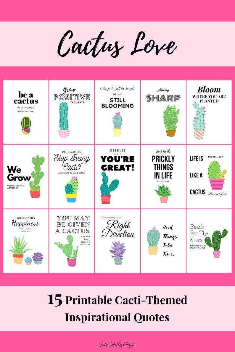 15 Cactus Inspirational Quotes  Printable Planner Divider image 0