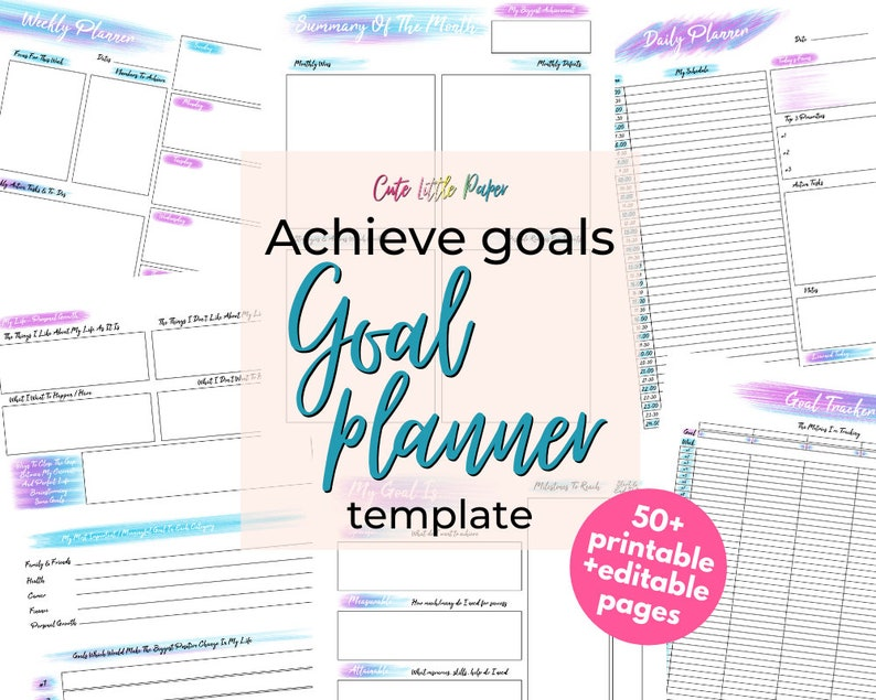 Goal Planner Printable Template  fully editable monthly goal image 1