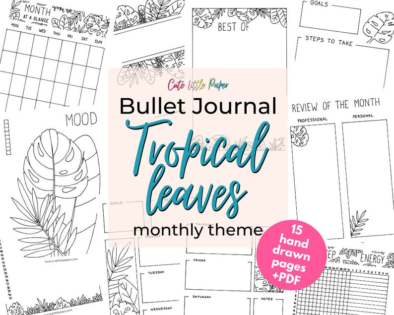 Bullet Journal Tropical Leaves Templates. Printable Bullet image 1