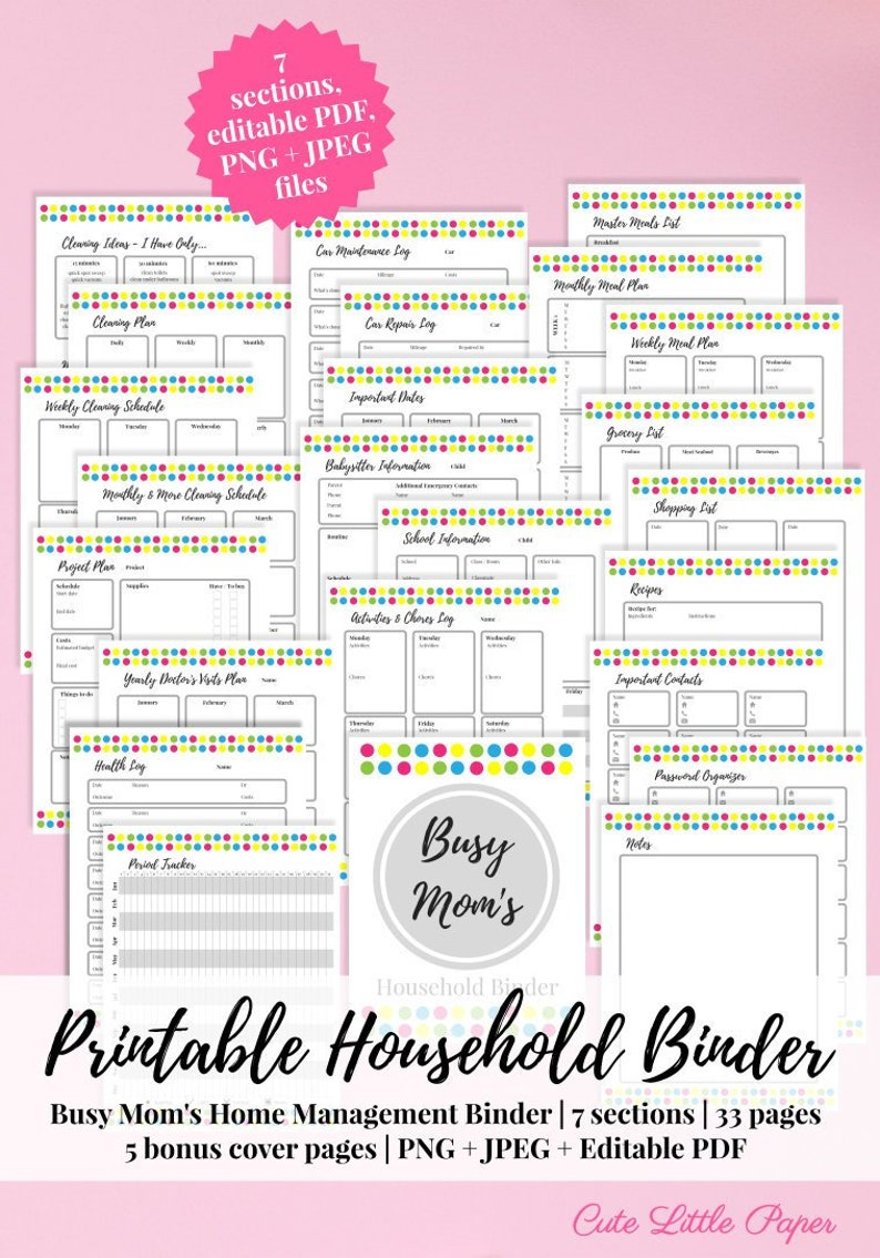 Printable Household Binder  fully editable home management image 0