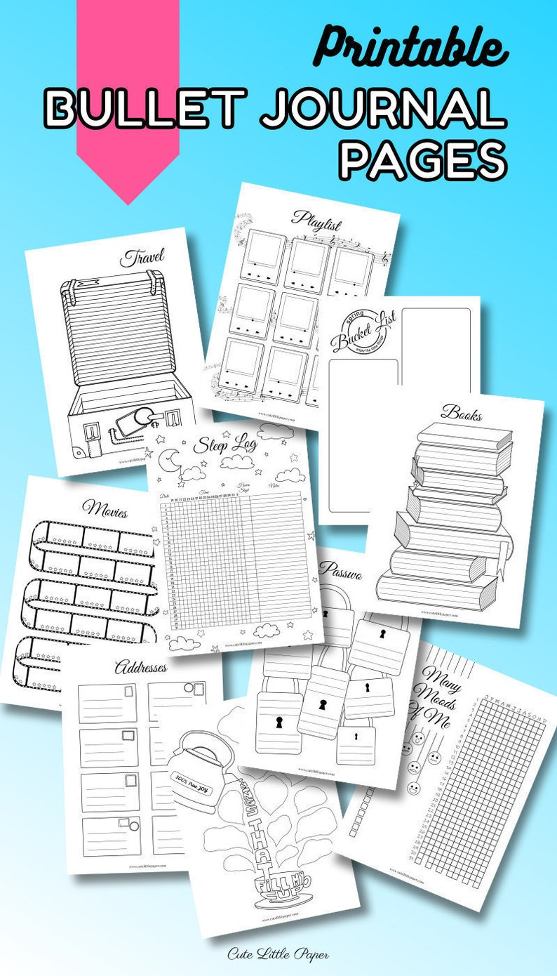 Bullet Journal Pages. Printable Bullet Journal Spreads image 0