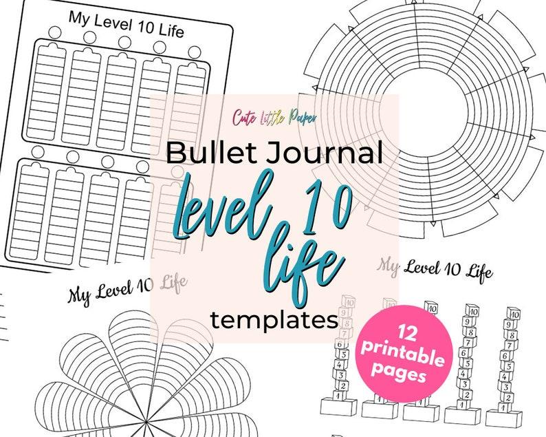 Level 10 Life Printable Bullet Journal Template Set image 0
