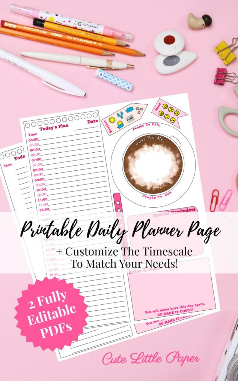 Editable PDF Planner Page  Coffee Cup Printable Template image 0