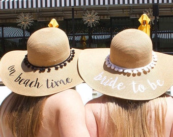 33469c44 Bachelorette Party Sun Hats | Multiple Phrases - Bride's Babes | On Beach  Time | Bride To Be