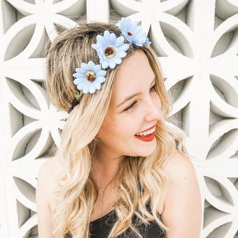 Boho Daisy Flower Crowns  Bachelorette Party Flower Headbands image 2