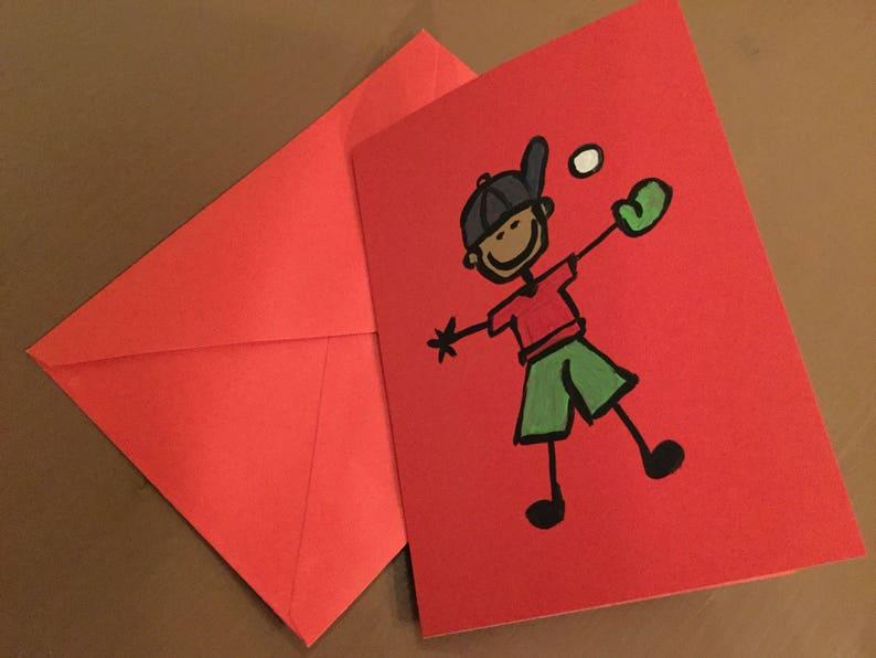 Birthday Card Boy Greeting Card Baseball Card Kids Red Boy Baseball Card Card Blank Card