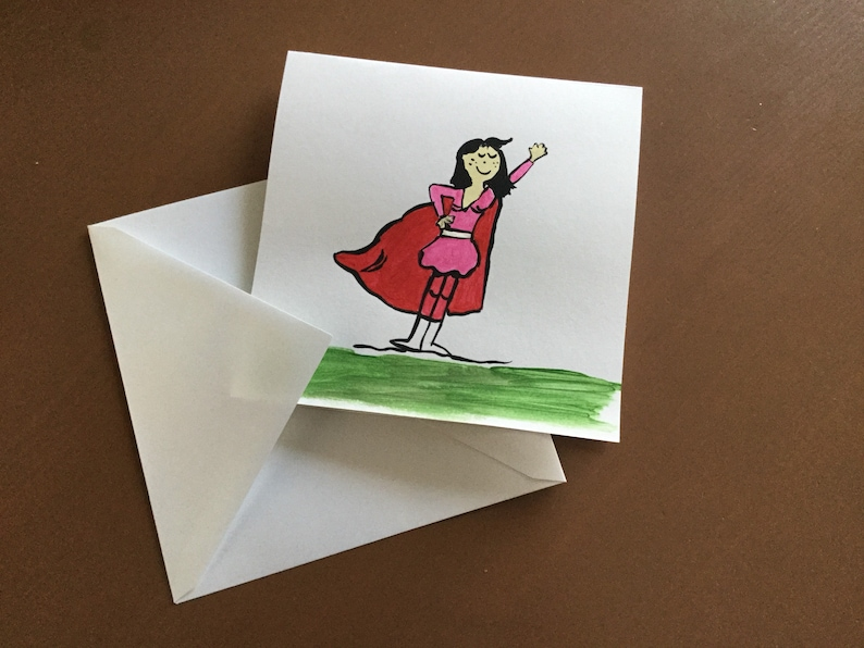 Girl party card, women's Party card, Super MOM party card, mother's Day  card, birthday card, painted card, single card