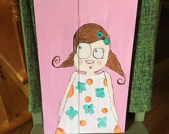 Painting girl on reclaimed wood.