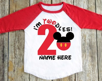 Disney Inspired Birthday Shirt Im Twodles 2 Years Old Year Mickey Mouse Raglan Baseball Tshirt