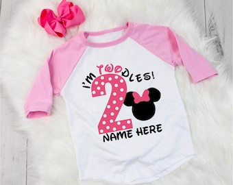 Disney Inspired Minnie Mouse Birthday Shirt POLKA DOT Outfit 2 Year Old Raglan Baseball Tee