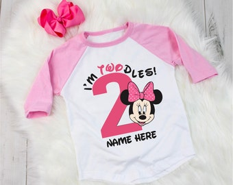 Disney Inspired Minnie Mouse Birthday Shirt Outfit 2 Year Old Raglan Baseball Tee Bow