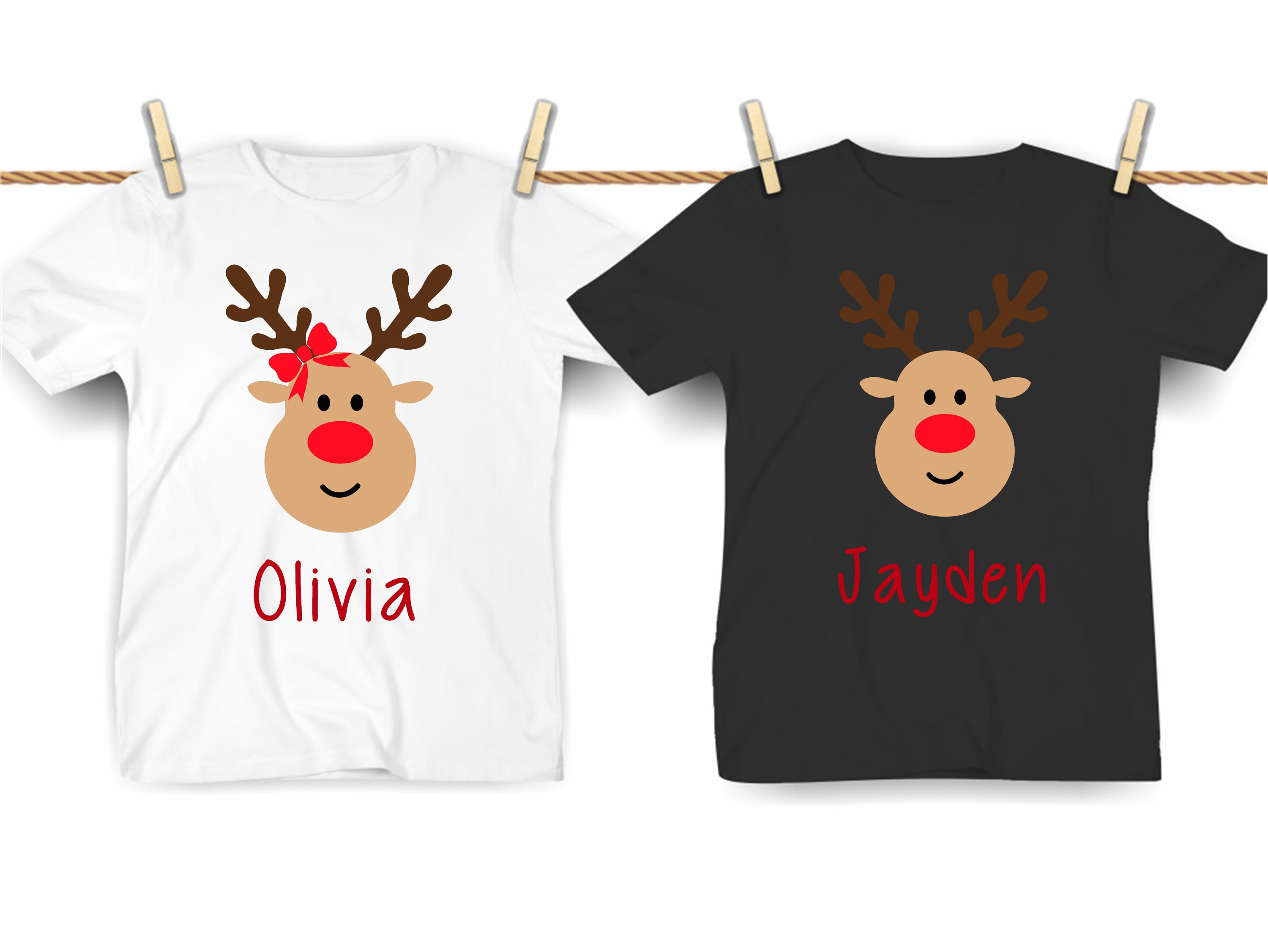 Matching Family Reindeer Rudolph Children Names Personalised Christmas T-shirt