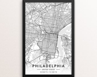 Map philadelphia | Etsy