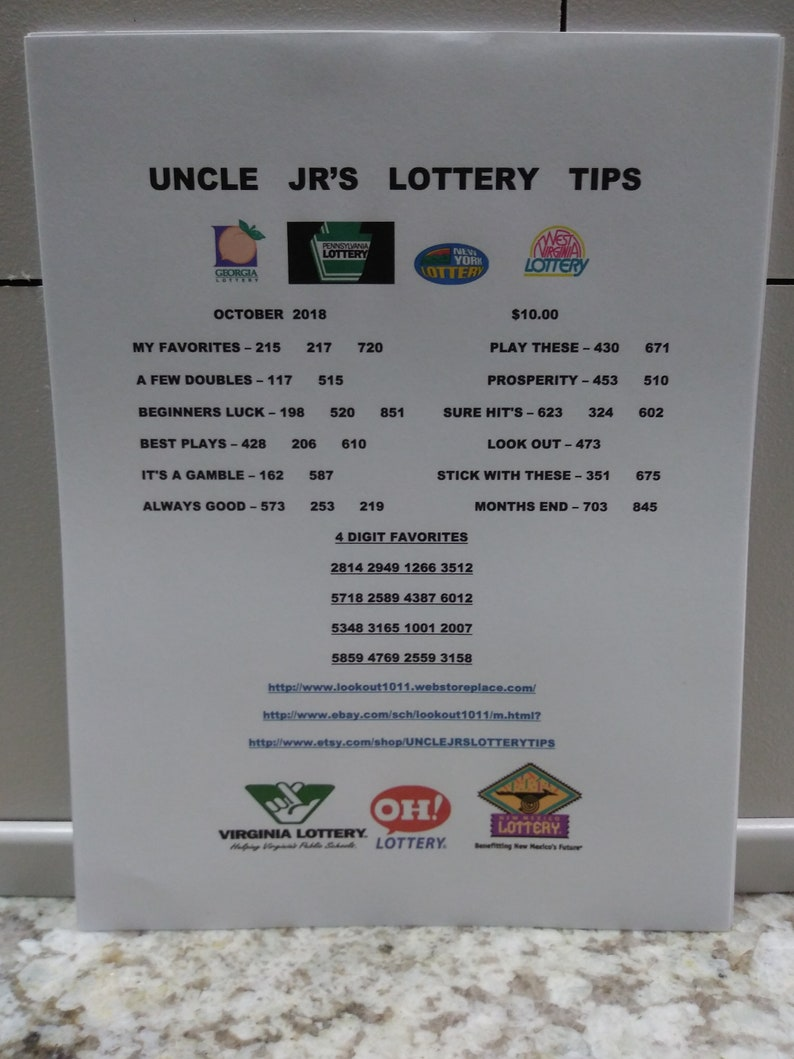 Uncle JR'S lottery tips sheet MONTHLY EDITION only 2 00