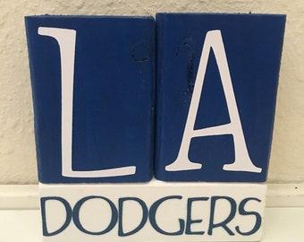 LA Dodgers 3pc wooden block set