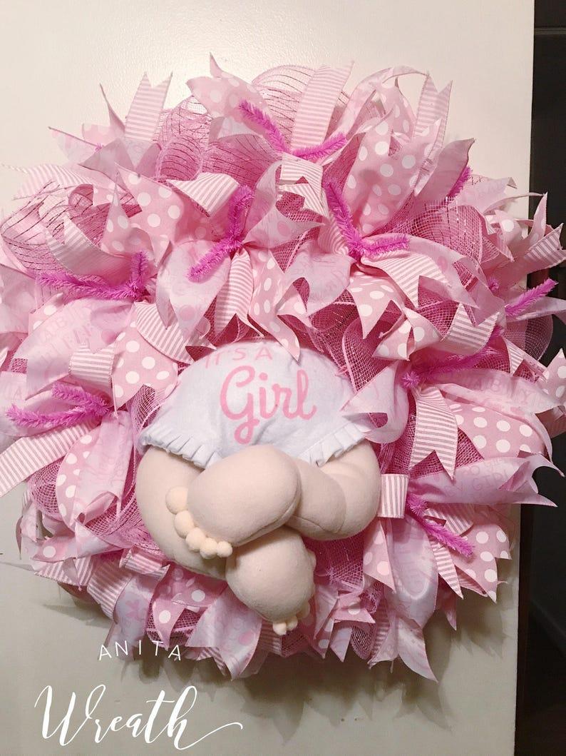 It S A Girl Wreath Baby Girl Wreath Deco Mesh Baby Etsy