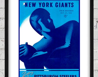 1945 Vintage Pittsburgh Steelers - New York Giants Football Program Cover - Digital Reproduction - Print or Matted or Framed