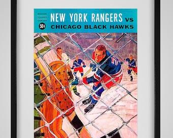 1964-1965 Vintage New York Rangers - Chicago Blackhawks Hockey Program - Digital Reproduction - Print or Matted or Framed