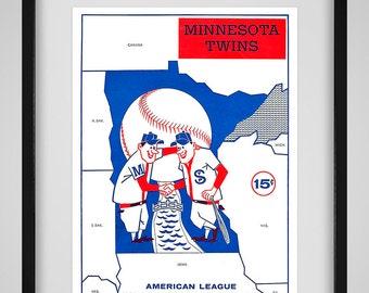 1961 Vintage Minnesota Twins Program Cover - Digital Reproduction - Print or Matted or Framed