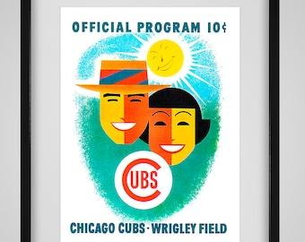 1956 Vintage Chicago Cubs Program- Digital Reproduction - Print or Matted or Framed