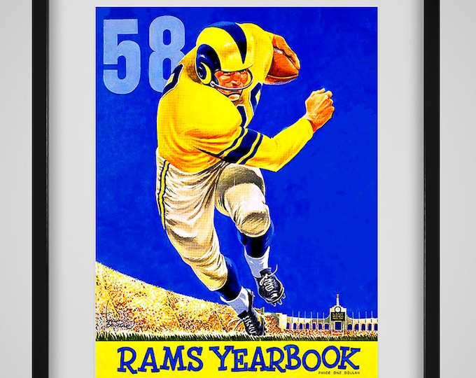 Featured listing image: 1958 Vintage Los Angeles Rams Yearbook - Digital Reproduction - Print or Matted or Framed