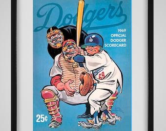 1969 Vintage Los Angeles Dodgers Program Cover - Digital Reproduction - Print or Matted or Framed