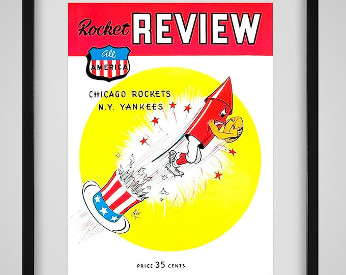 Featured listing image: 1948 Vintage Chicago Rockets Football Program - Digital Reproduction - Print or Matted or Framed
