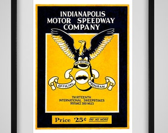 1925 Vintage Indianapolis 500 Racing Program - Digital Reproduction - Print or Matted or Framed