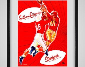 1952 Vintage USC Trojans - Stanford Football Program Cover - Digital Reproduction - Print or Matted or Framed