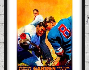 1958-1959 Vintage New York Rangers Hockey Program Cover - Digital Reproduction - Print or Matted or Framed