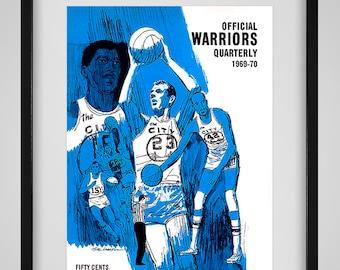 1969 -1970 Vintage San Francisco Warriors Program Cover - Digital Reproduction - Print or Matted or Framed