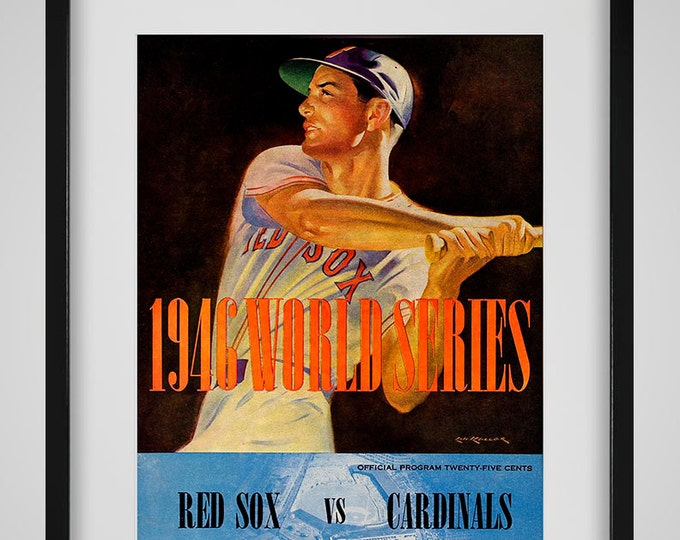 Featured listing image: 1946 Vintage Boston Red Sox - St Louis Cardinals World Series Program Cover - Digital Reproduction - Print or Matted or Framed