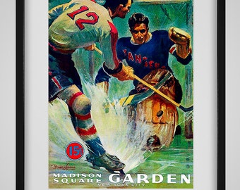 1940-1941 Vintage New York Americans - New York Rangers Hockey Program - Digital Reproduction - Print or Matted or Framed