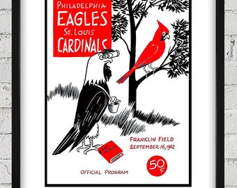 1962 Vintage St. Louis Cardinals - Philadelphia Eagles Football Program - Digital Reproduction - Print or Matted or Framed