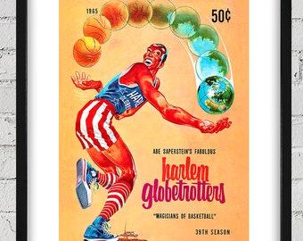 1965 Vintage Harlem Globetrotters Program Cover - Digital Reproduction - Print or Matted or Framed