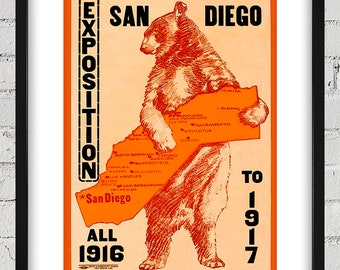 1917 Vintage Exposition San Diego Poster - Digital Reproduction - Print or Matted or Framed