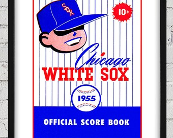 1955 Vintage Chicago White Sox Scorebook Cover - Digital Reproduction - Print or Matted or Framed