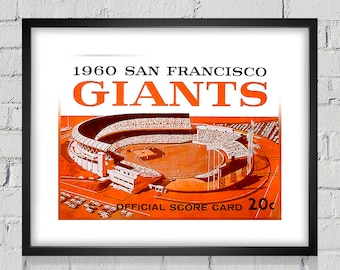 1960 Vintage San Francisco Giants Scorecard Cover - Digital Reproduction - Print or Matted or Framed