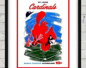 1958 Vintage St Louis Cardinals Scorecard Cover - Digital Reproduction - Print or Matted or Framed