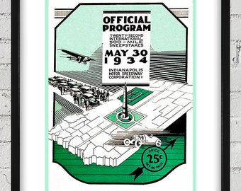 1934 Vintage Indianapolis 500 Racing Program Cover - Digital Reproduction - Print or Matted or Framed
