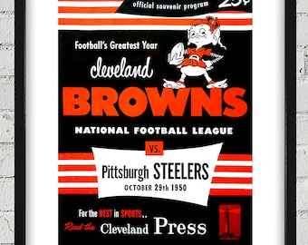 1950 Vintage Pittsburgh Steelers - Cleveland Browns Football Program Cover - Digital Reproduction - Print or Matted or Framed