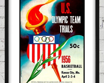 1956 Vintage US Olympic Team Trials Program Cover - Basketball - Digital Reproduction - Print or Matted or Framed